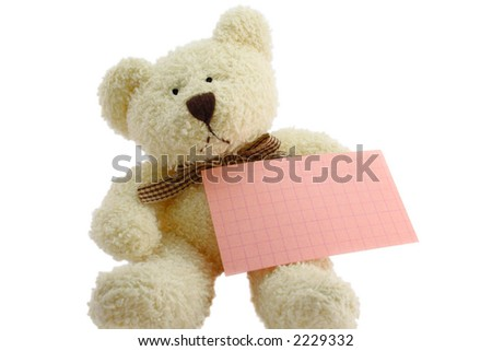 Front view of teddy bear toy with a blank note, isolated on white background - stock photo