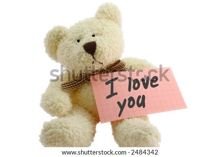 "Front view of teddy bear toy with ""I love you"" note, isolated on white background - stock photo"