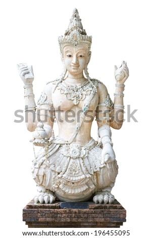 Front view of Thai ancient creature statue isolated on white background