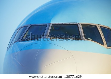 Front view of the airplane. - stock photo