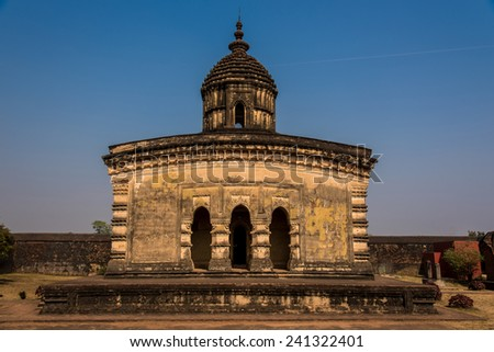 Front view of the ancient Lalji temple of Bishnupur, West Bengal, India established in the 16th century. - stock photo