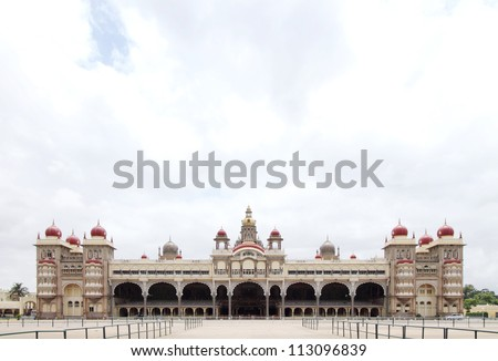 Front view of the beautiful Mysore palace