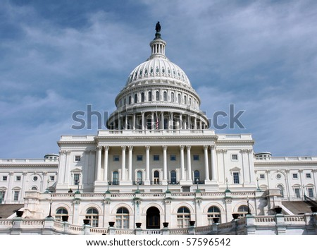 Front view of the Capitol Building in Washington DC - stock photo