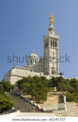 Front view of the church NOTRE DAME DE LA GARDE in Marseille at summery weather - stock photo