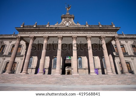 front view of the governors palace in monterrey mexico - stock photo