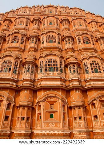 Front view of the Hawa Mahal or the palace of winds in Jaipur, India