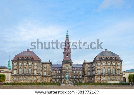 Front view of the main building of Christiansborg Palace in Copenhagen, Denmark  - stock photo
