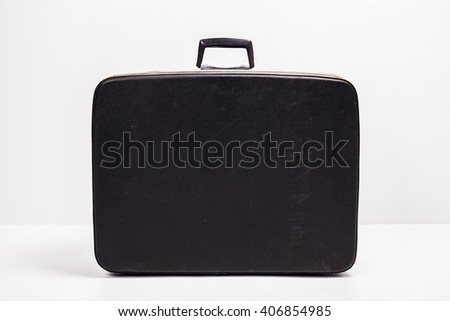 Front view of the old suitcase - stock photo