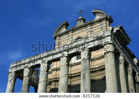 Front view of the Roman Forum columns, Rome, Italy - stock photo