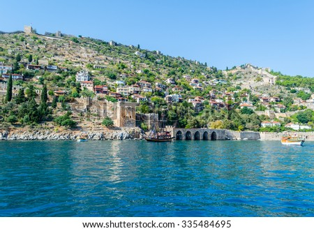 Front view of the sea and mountains in sea port of Alanya, Turkey.