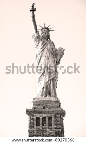 Front view of the Statue of Liberty in New York City. - stock photo