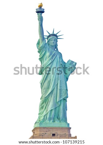 Front view of the Statue of Liberty in New York City isolated. - stock photo