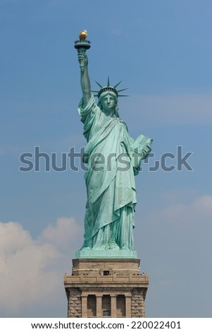 Front view of the Statue of Liberty in New York City, New York, United States - stock photo