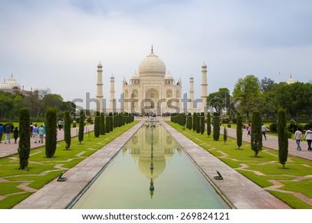 Front view of the Taj Mahal - stock photo