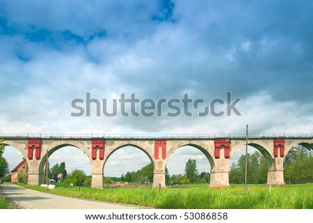 Front view of the viaduct in Nirkendorf with six arches - stock photo