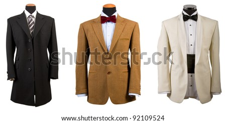 front view of three elegant suits, business fashion - stock photo