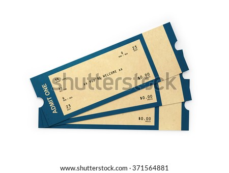 Front view of three general admission tickets. The tickets have a kraft paper like  look and a retro style.  Isolated on white background. Clipping path is included - stock photo