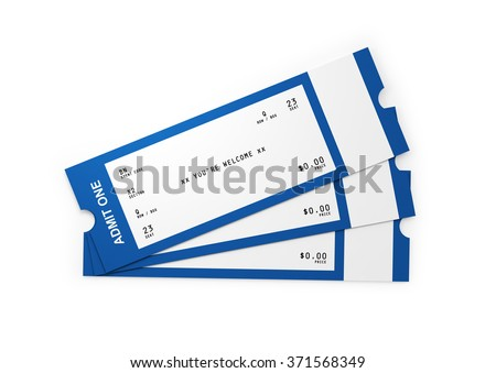 Front view of three general admission tickets. The tickets white and blue in colour.  Isolated on white background. Clipping path is included. - stock photo