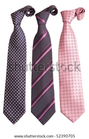 front view of three ties on white background - stock photo