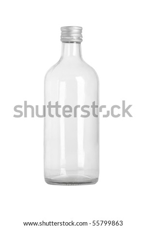 front view of transparent glass bottle on white background - stock photo
