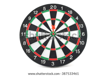 Front view of two darts bull's eye on dartboard, isolated on white background.