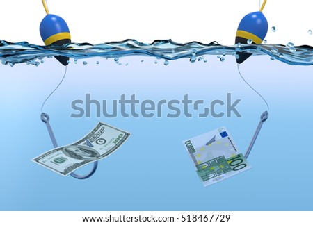front view of two fish-hooks in the water with banknotes,concept of fraud (3d render)