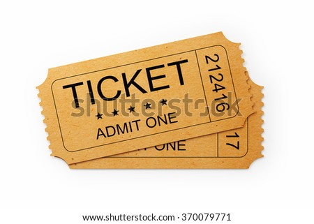 Front view of two general admission tickets. The ticket is yellow in colour. It has a kraft paper like  look and a retro style.  Isolated on white background. Clipping path is included.