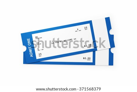 Front view of two general admission tickets. The tickets white and blue in colour.  Isolated on white background. Clipping path is included. - stock photo