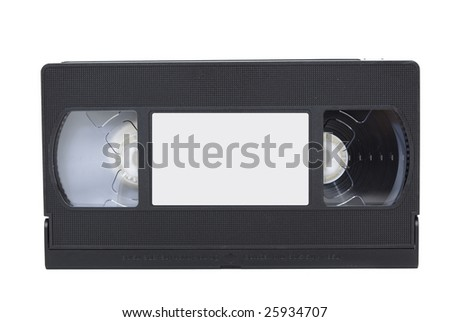 front view of vhs video tape with label isolated against white background - stock photo