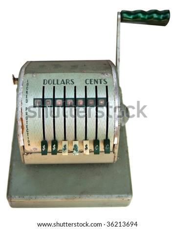 Front view of vintage antique cash register - stock photo