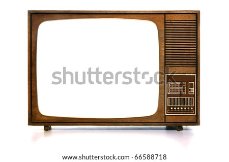 Front view of vintage TV with white-blank-screen