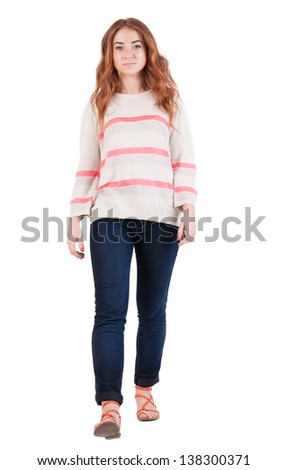 front view of walking  woman . beautiful redhead girl in motion.  people collection. Isolated over white background. - stock photo