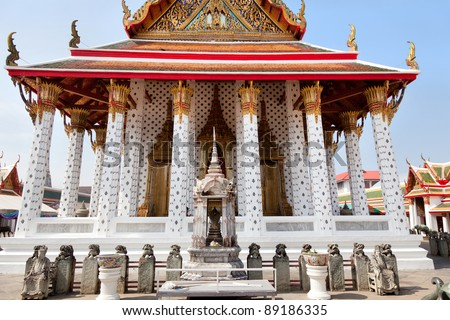 Front view of  Wat Arun temple in Bangkok city, Thailand - stock photo