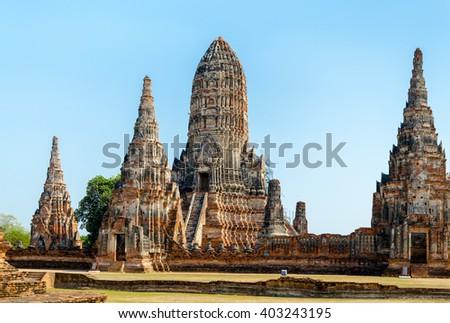Front View of Wat Chaiwatthanaram in Ayutthaya, Thailand - stock photo