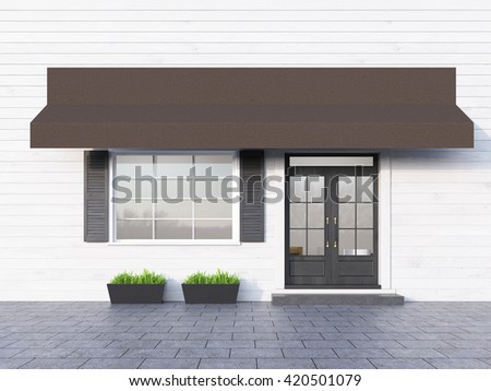 Front view of white plank cafe exterior with brown canopy. 3D Rendering - stock photo