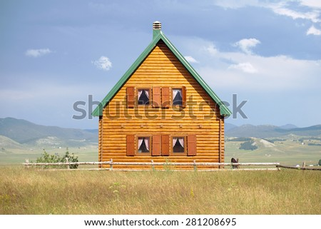 front view of wooden house in Zabljak, Montenegro - stock photo