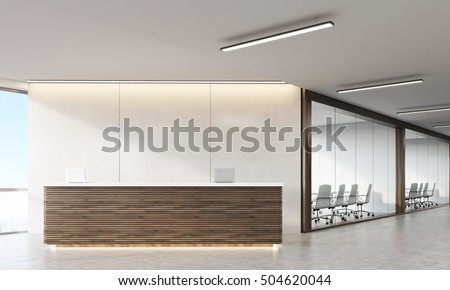 Front View Wooden Reception Counter Standing Stock Illustration 504620044 Shutterstock