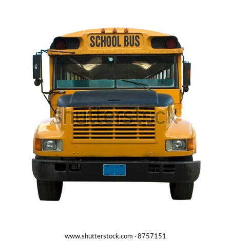 Front view of yellow school bus isolated - stock photo