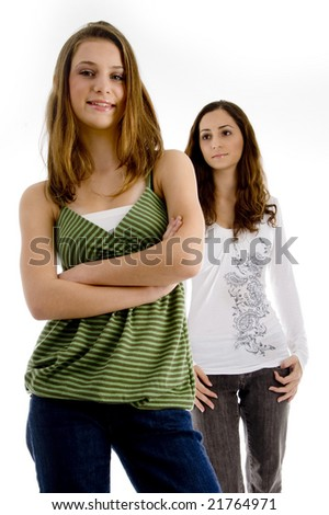 front view of young friends with white background - stock photo