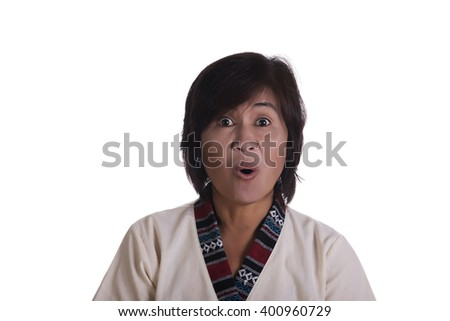 Front view on single excited woman with short hair, wide eyes and open mouth over white background