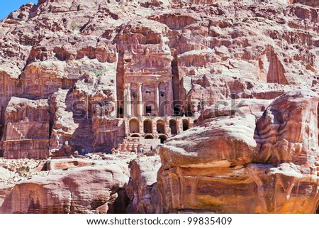 front view on Urn Tomb Cathedral  in Petra, Jordan - stock photo