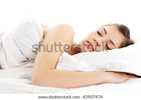 Front view portrait of beautiful resting woman cover white blanket - stock photo