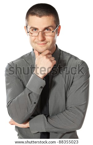 Front view portrait of young businessman in eyeglasses with hands folded isolated on white background - stock photo