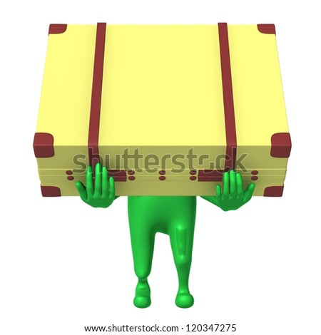 Front view puppet carry suitcase on his arms - stock photo