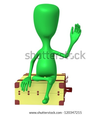 Front view puppet on big suitcase greeting friend - stock photo