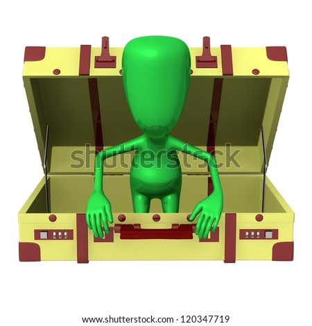 Front view puppet try get out from suitcase - stock photo