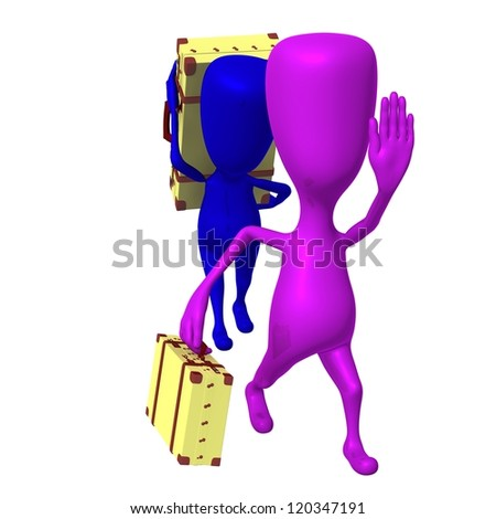 Front view puppets move to station with carriage - stock photo