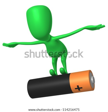 Front view puppy balance on big duracell battery - stock photo