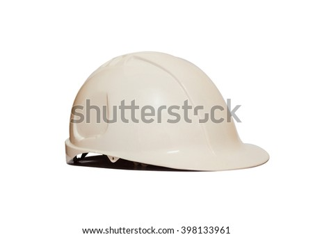 Front view Safety Engineer Helmet ,Isolated with White background - stock photo