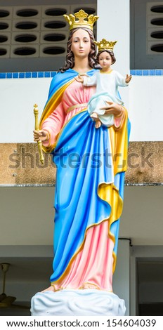 front view single blessed virgin mary statue tradition in thailand style at public place - stock photo
